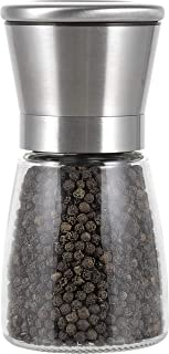 Peppertones Paris Black Indochine Cambodian Kampot Pepper Gourmet Peppercorns(Whole) Glass Mill, 3.5oz(100g)