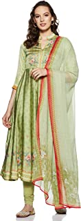BIBA Light Green Viscose Anarkali Suit Set