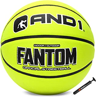 AND1 Fantom Rubber Basketball & Pump- Official Size Streetball, Made for Indoor and Outdoor Basketball Games