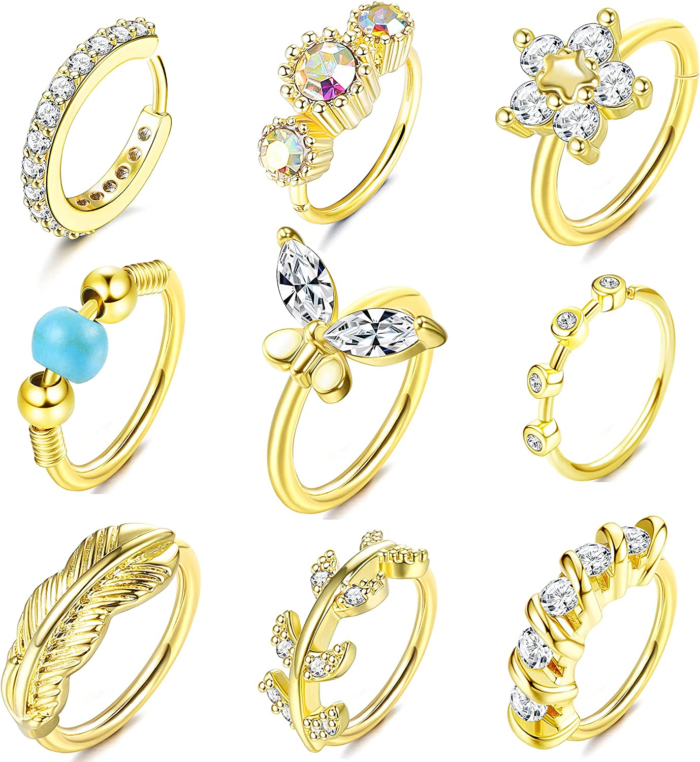 Sailimue 9Pcs 20G Nose Ring Hoops Paved CZ Flower Leaf Hoops Nose Septum Rings Helix Cartilage Earrings Ear Nose Body Piercing Ring for Women Men 8mm