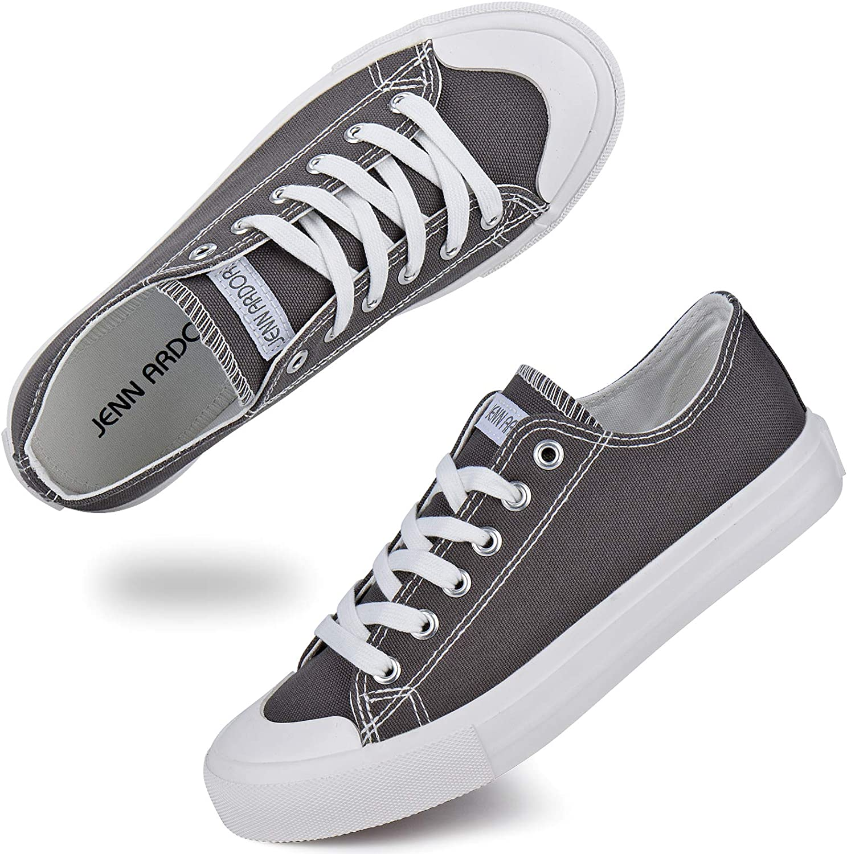 JENN ARDOR Women's Canvas Sneakers Classic Low Cut Lace-Up Casual Shoes Fashion Comfortable Walking Flats