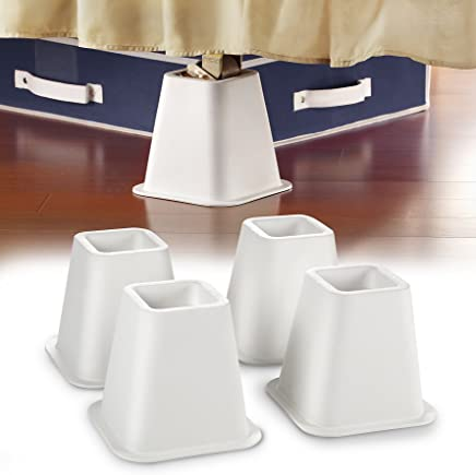 Simplify #1 4-Count 6 inch Bed Riser & Silicone Grip Bottom- Patented Design- Only Buy From Space With Taste! - White