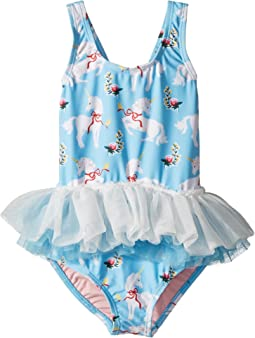 Rock Your Baby White Unicorns Tulle One-Piece (Toddler/Little Kids/Big Kids)