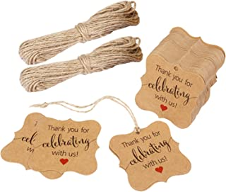 Aprince Paper Favor Gift Tags Thank You Tags Wedding Favor Gift Tags Thank You for Celebrating with Us 100 PCS Square Tags with 20m Natural Jute Twine Perfect for Bridal Baby Shower Anniversary Brown