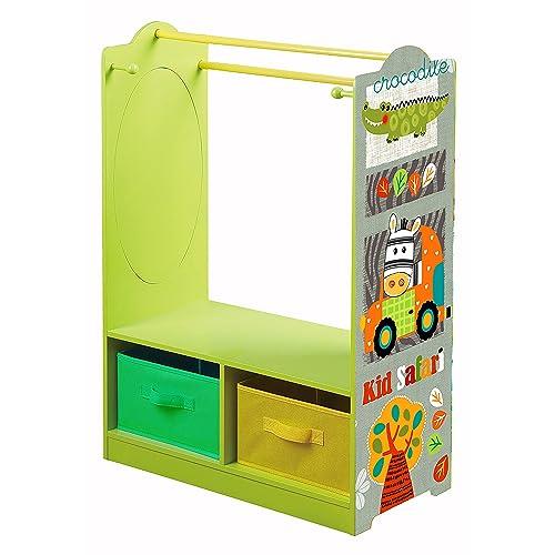 2668b608f681 Liberty House Toys Kid Safari Wooden Dress UP Storage, Wood, Green/Orange,
