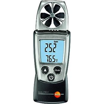 Testo 0560 4101 410-1 Flügelrad-Anemometer mit integriertem NTC Luft-Thermometer, inklusive Schutzkappe, Kalibrier-Protokoll und Batterien