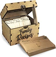 Wooden Recipe Box With Cards and Dividers - Includes 6 Wood Dividers - 50 Double Sided 4x6 Recipe Cards - Premium Handcrafted Quality - Great Gift Idea - Wedding, Birthday, Anniversary, Mother's Day