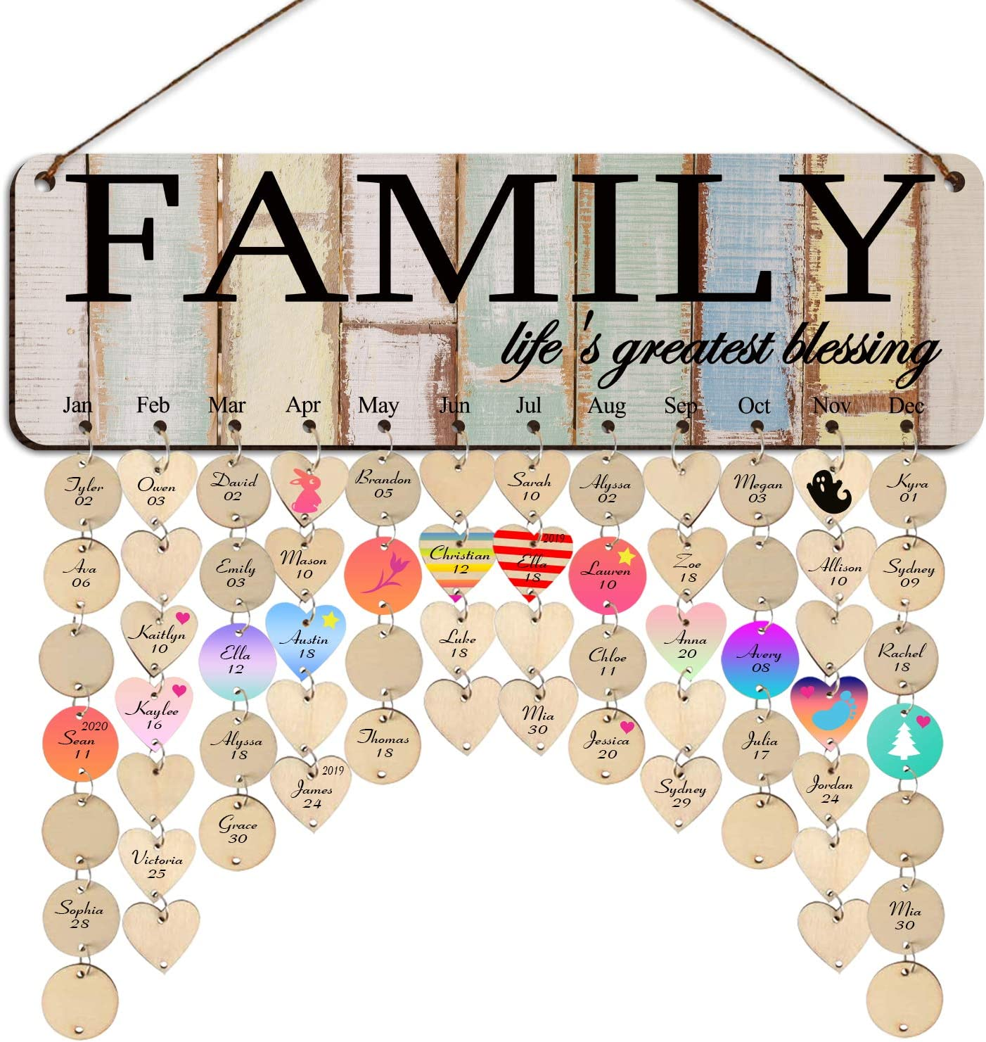 Family Birthday Calendar with Max 83% OFF Limited price Tags Christmas M for Gift