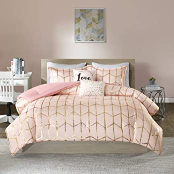 Amazon.com: Intelligent Design Raina Comforter Set Metallic Print