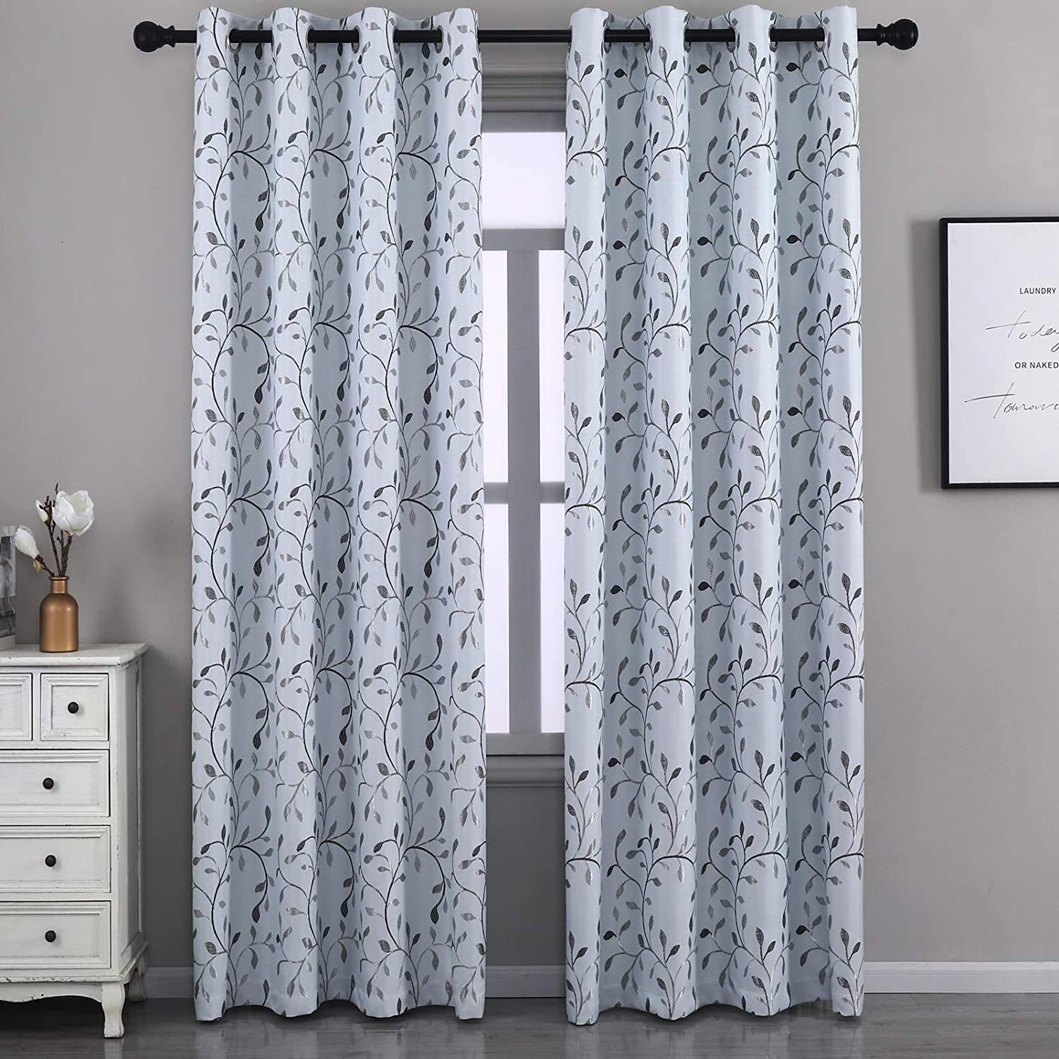 GYROHOME Floral Blackout Curtain with 最安値挑戦 Leaf お買得 Grommet Embroidery To