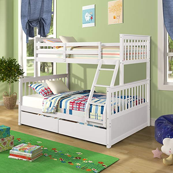 Wood Bunkbeds Twin Over Full Bunk Bed With 2 Storage Drawers Sturdy Wooden Bunk Frame Twin Cot With Ladder And Safety Rails Convenience To Take Care Of Your Children White