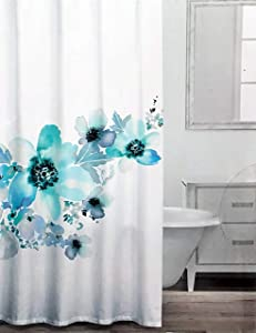 Caro Fabric Shower Curtain Floral Flowers Pattern Aqua Taupe Gray Green Blue on White - Lola Seaglass