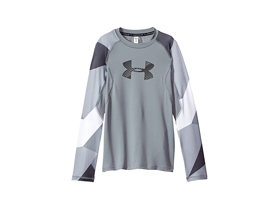 Under Armour Kids Armour HeatGear(r) Novelty Long Sleeve (Big Kids) (Steel/Steel/Graphite) Boy's Clothing, Gray