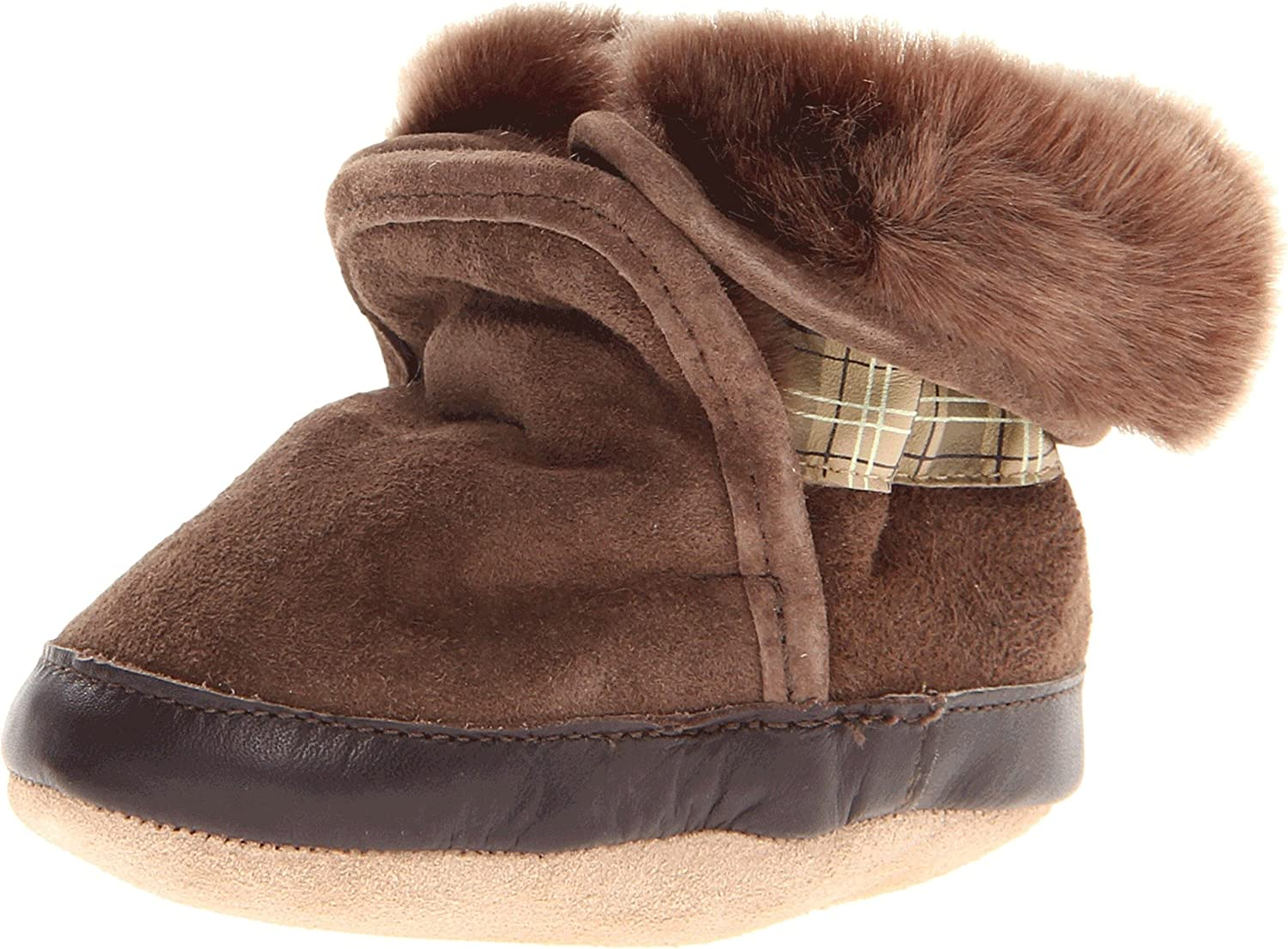Robeez Cozy Ankle Baby Boots Popular overseas - 12-18 Brown 100% quality warranty Months Soft Soles