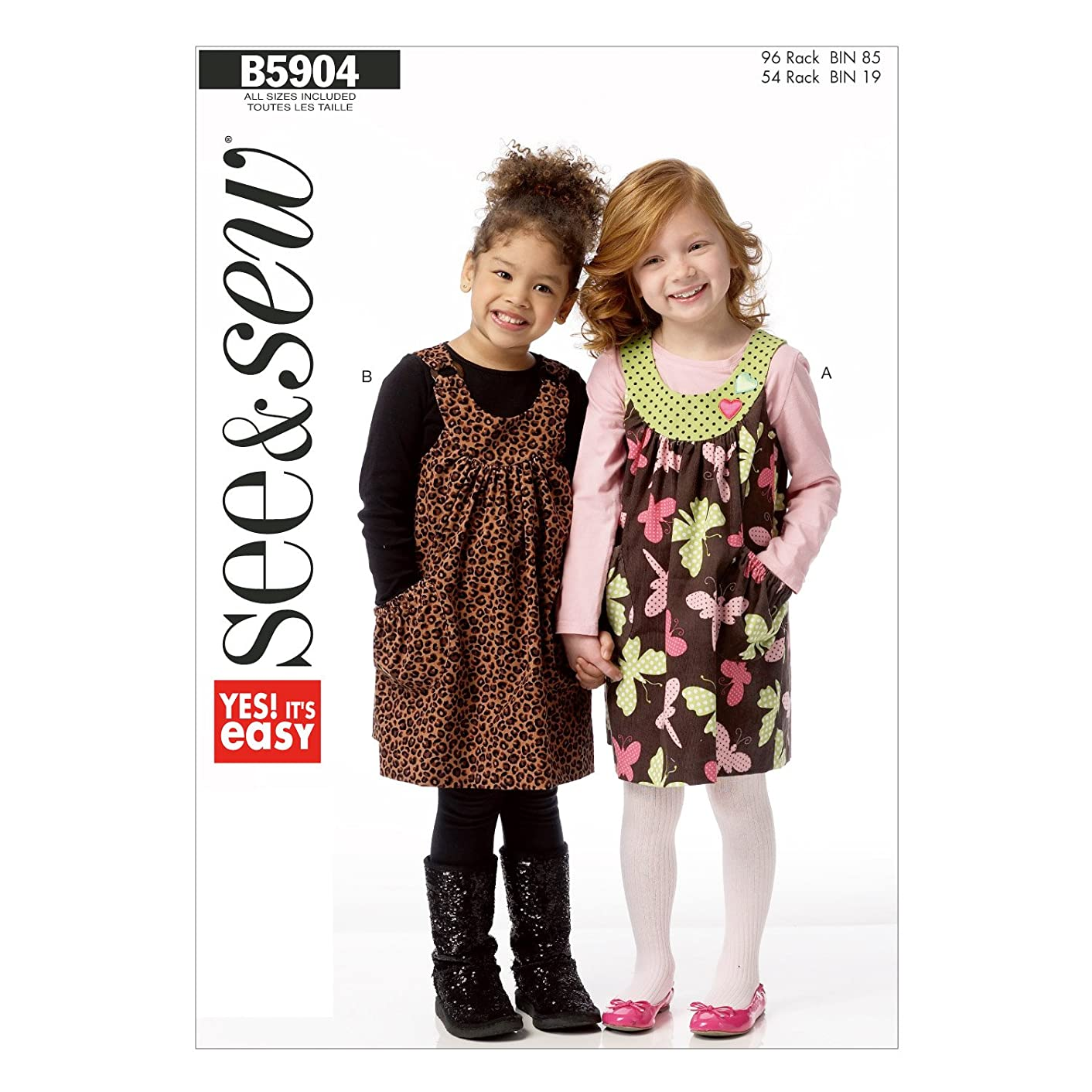 BUTTERICK PATTERNS B5904 Children's/Girls' Jumper Sewing Template, Size A in One Envelope