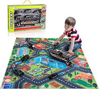 TEMI Diecast City Police Car Toy Set w/ Play Mat, Truck Carrier, SWAT Helicopter, Patrol Car, Armored Vehicle, Ladder Truc...