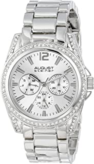August Steiner Women's Fashion Watch - Crystal Bezel and Lugs around Sunburst Dial with Day of Week, Date, and 24 Hour Subdial on Silver Stainless Steel Bracelet - AS8075