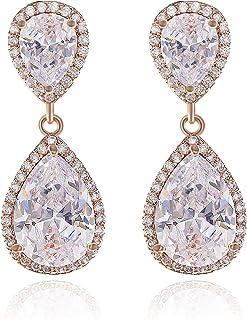 Teardrop Dangle Earrings for Wedding - Classic Silver...