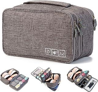 PUBAMALL Organizador Viaje Ropa Acabado Bolsa - Ropa interior Bolsas de almacenamiento de sujetadores, para ropa interior, sostenes, calcetines, pañuelos (Gris)