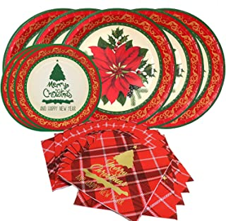 Christmas Floral Disposable Paper Dinnerware Set-Serves 20- Includes 10 Inch Poinsettia Paper Dinner Plates,Vintage Dessert Plates and Paper Napkins