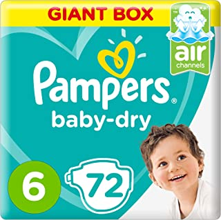 Pampers Baby-Dry, Size 6, Extra Large, 13+ kg, Giant Box, 72 Diapers
