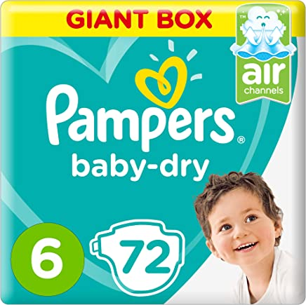 Pampers Baby-Dry Diapers, Size 6, Extra Large, 13+kg, Giant Box, 72 Count