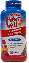 Vitafusion Fiber Well Gummies Sugar Free with 5 Grams of Fiber Per Serving Prebiotic Fiber Supplement in Peach, Strawberry, Blackberry - 220 Gummies