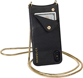 Bandolier Belinda Crossbody Phone Case and Wallet - Black Leather with Gold Detail - Compatible with iPhone 8 Plus, 7 Plus, 6 Plus, 6s Plus Only