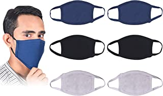 PACK OF 6 Pure Washable & Breathable Cotton Reusable Face Mask -Protective Fabric Face Cover, Mouth Masks