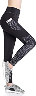 Annjoli Women's Workout Running Exercise Capris Pants Running Tights with Pockets