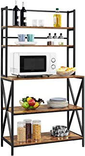 YAHEETECH Kitchen Baker's Racks with Storage Shelves, 5-Tier Microwave Oven Stand Shelf, Free Standing Utility Storage Rac...
