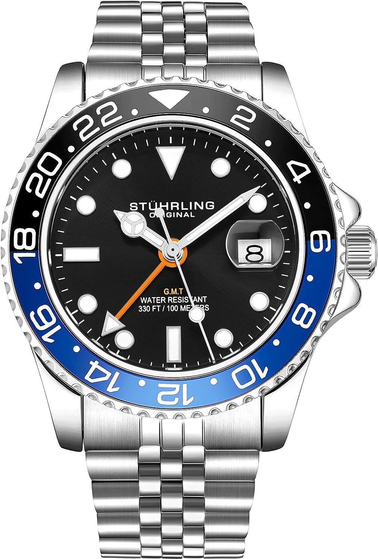 Stuhrling Reloj original para hombre de acero inoxidable Jubilee pulsera GMT – cuarzo suizo, doble hora, fecha rápida con corona de rosca, resistente al agua hasta 10 ATM