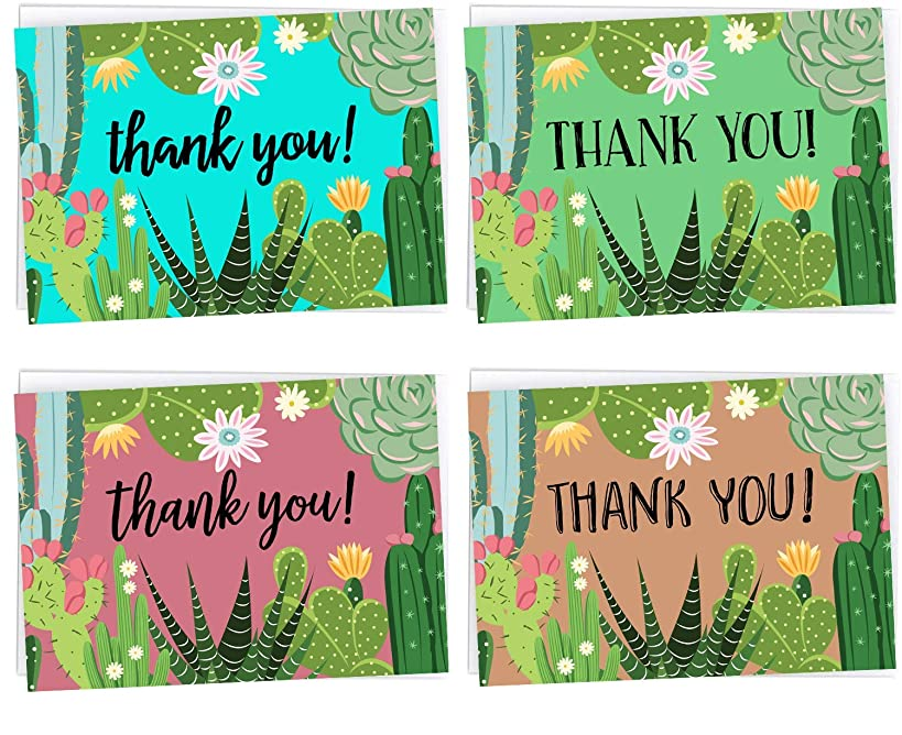 Cactus & Succulent Hand Drawn Thank You Cards For Birthdays, Wedding Celebrations, Friends & Family - 36 Cards + Envelopes Included
