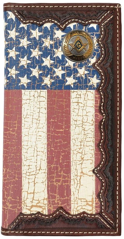 転用受け入れ生きているカスタムSmall Texas Masonアメリカ国旗Long Wallet with Distressed United States Flag