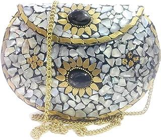party bag clutch Eid gift metal Bag Shell stone mosaic clutch MOP nacre bag ethnic indian antique bridal CLUTCH