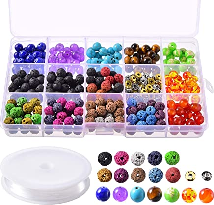AIEX 606 Pcs Lava Kit de granos Lava Stone Beads Surtido de colores Chakra Beads Spacer Beads con 2 rollos el/ásticos Stretch Strings y 2 Bead Needles para adultos Aceite esencial Pulsera Collar