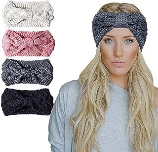 Chalier 4 Pcs Warm Winter Headband for Women Cable Crochet Turban Ear Warmer Headband Gifts