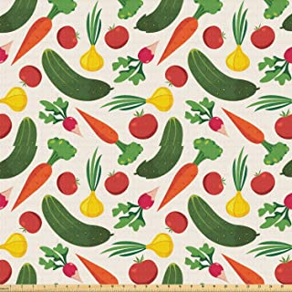 Ambesonne Vegetable Fabric by The Yard, Vegetarian Cartoon Arrangement Pickle Onion and Tomatoes on Off White Backdrop, Stretch Knit Fabric for Clothing Sewing and Arts Crafts, 5 Yards, Multicolor