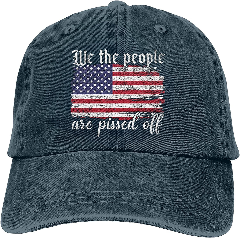 We The People are Pissed Off Hat, 1776 Vintage Adjustable Baseball Unisex Trucker Cap Dad Hat Black