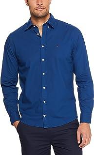 TOMMY HILFIGER Men's Custom Fit Gingham Short Sleeve Shirt, Blue Depths/Bright White, XL