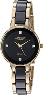 Armitron Women's 75/5532BKGP Diamond-Accented Gold-Tone and Black Ceramic Bracelet Watch