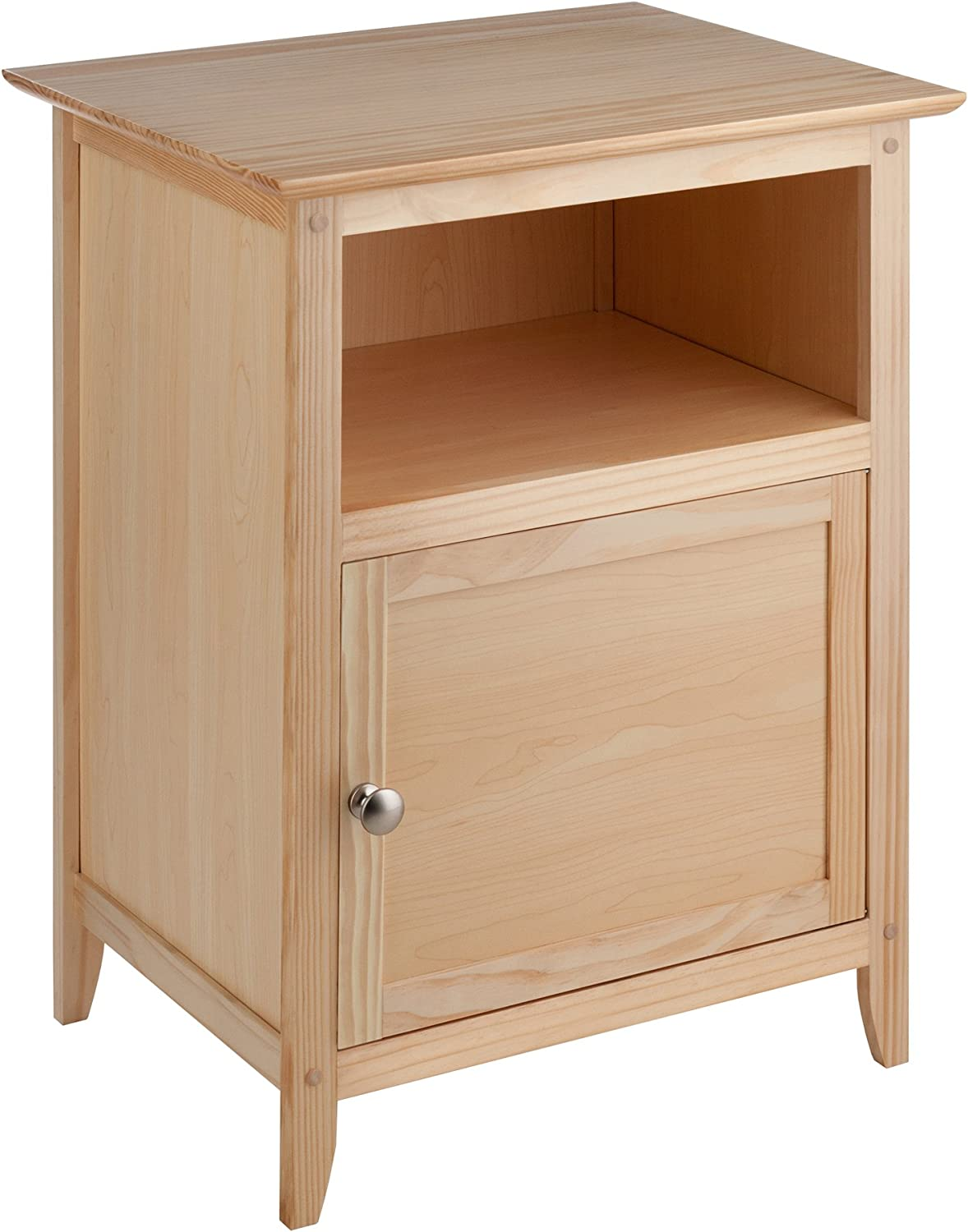 Winsome Wood End Table Night Stand with Door and Shelf, Natural