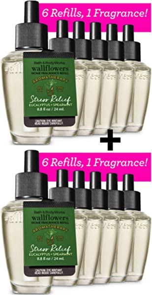 Lot Of 12 Bath Body Works Aromatherapy Stress Relief Eucalyptus Spearmint Wallflower Bulbs Home Fragrance Refills Use With Your Favorite Plug In Diffuser