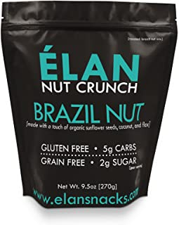 ELAN Roasted Organic Brazil Nut Lightly Salted Granola - Paleo Low Carb Ketogenic - Healthy Nut, Seed, Coconut and Ground Flax Cereal - Brazilian Nut High Selenium Supplement (9.5 Oz Travel Mini Bag)