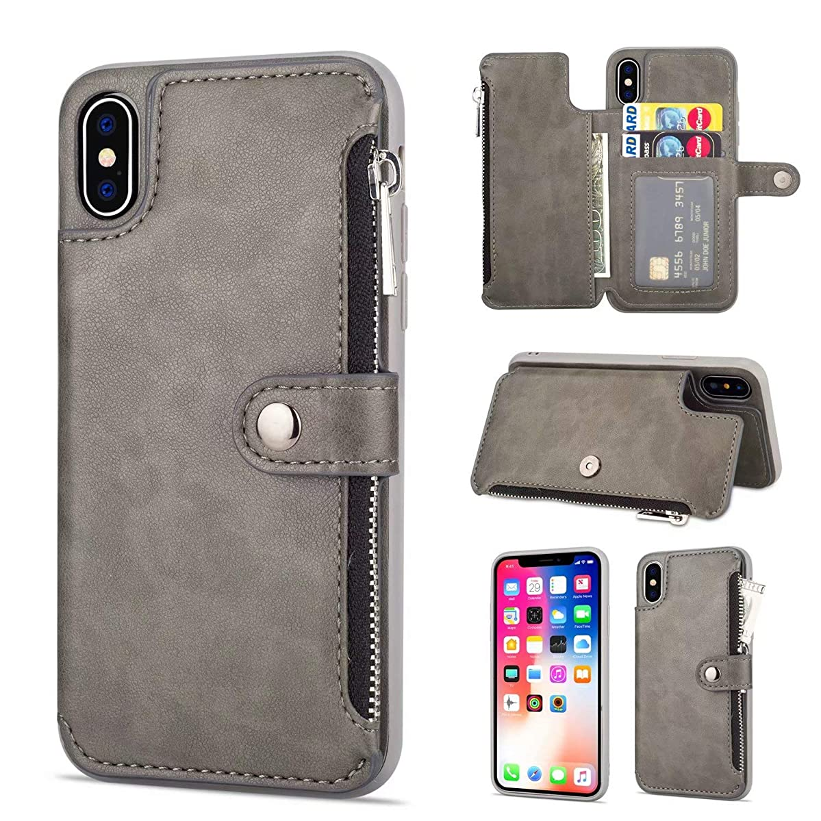 Ranyi iPhone Xs Case, iPhone X Case, Zipper Flip Wallet Cover [Card Slots] [Kickstand Feature] Shock Absorbing Premium Leather Magnetic Wallet Protective Case for Apple 5.8