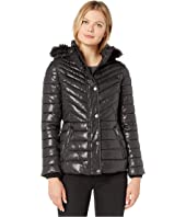 Faux Fur Trimmed Short Puffer