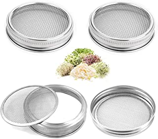 OWAY 4 Pack Sprouting Jar Screen Lids, 304 Stainless Steel Sprouting Lids for Wide Mouth 32 Oz Mason Jars, Canning Jars - ...