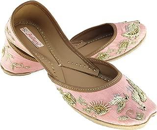 Fulkari Women's Flamingo Genuine Soft Leather Jutis | Bite and Pinch Free Jutis | Punjabi Jutti for Ladies Flat Mojari | Bridal Ethnic Flats for Girls |