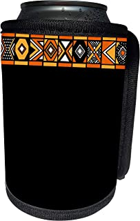 3dRose InspirationzStore African Patterns - Black Yellow and Orange African Pattern - Art of Africa Inspired by Zulu Beadwork Geometric designs - Can Cooler Bottle Wrap (cc_76553_1)