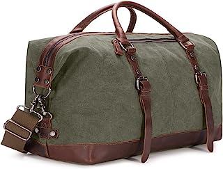 BAOSHA HB-14 Vintage Segeltuch Canvas PU Leder Unisex Handgepäck Reisetasche Sporttasche Weekender Tasche für Kurze Reise am Wochenend Urlaub Arbeitstasche 40 Liter Aktualisiert Grün